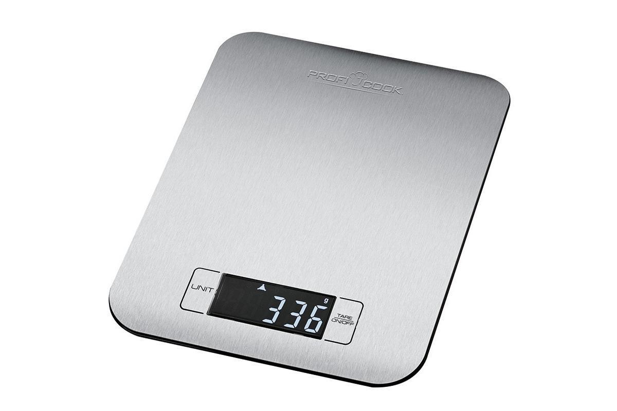 Profi Cook PC-KW 1061 кухонные весыPC-KW 1061Платформа из нержавеющая сталь Большой LCD-дисплей Функция взвешивания тары Максимальный вес — 5 кг, шаг — 1 гр Мерная шкала до 5кг (шаг — 1 гр) Выбор единицы измерения — кг, фунты, унции