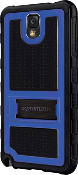 Promate Torso.N3 чехол-накладка для Samsung Galaxy Note 3, Blue00007755Чехол Promate Torso.N3 является стильной накладкой из гибкого пластика с мощной защитой для вашего Galaxy Note 3. На тыльной стороне накладки имеется откидная ножка, которая трансформирует Torso.N3 в удобную подставку для горизонтального просмотра изображения на экране. Ребристая поверхность накладки, обрамляющая края смартфона, прекрасно оберегает ваш смартфон от царапин, потертостей и случайных падений, при этом обеспечивая полный доступ к портам и клавишам управления.