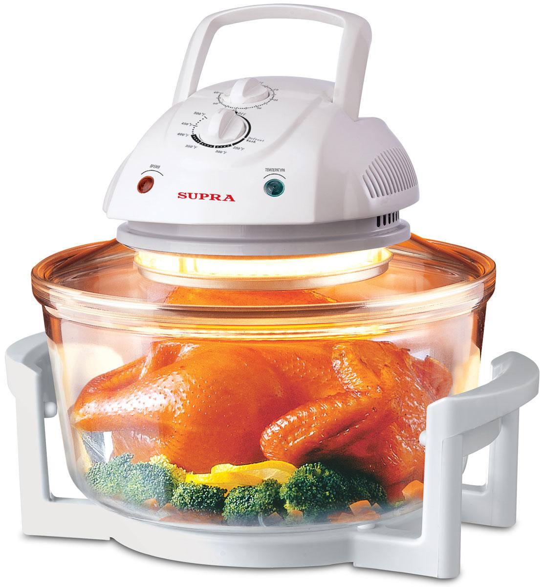 Supra AGS-1101, White аэрогрильAGS-1101Аэрогриль Supra AGS-1101 совмещает в себе функции духовки, кухонной плиты, жаровни и т.д. Можете себе представить, что вы возвращаетесь с работы и готовите обед для всей семьи всего за полчаса? Вам не нужно разогревать сковородку, мешать суп, переворачивать мясо, поливать жареное мясо соусом. Теперь это возможно. Здоровая пища помогает вам оставаться в форме и не набирать лишние килограммы: готовит без добавления жира! Больше не нужно лить масло для приготовления вкусной еды. Можно добавить лишь одну ложку для вкуса. Благодаря функции вентилятора с пищи сдувается до 75% жира, а все соки сохраняются внутри. Таким образом, вы едите то, что нравится, не беспокоясь о том, что это может повредить фигуре. Аэрогриль Supra AGS-1101 одновременно готовит несколько блюд без участия и контроля хозяйки - работает по выбранному режиму, выключает себя сам и сообщает об этом звонком, тем самым избавляет от необходимости мыть плиту, жирные сковородки и кастрюли. ...