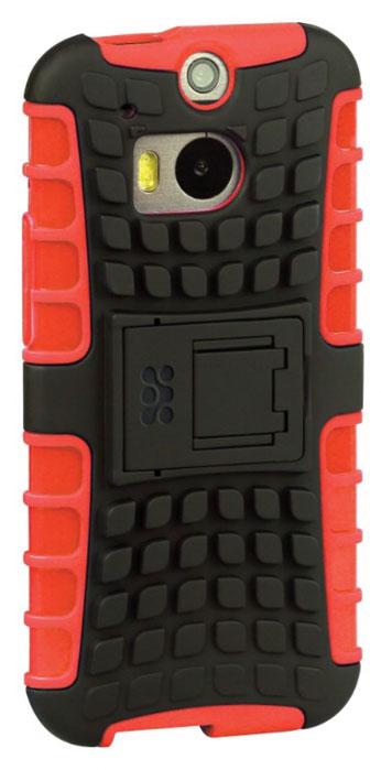 Promate Torso-M8 чехол-накладка для HTC One M8, Maroon00008011Чехол Torso-M8 является стильной накладкой из гибкого пластика с мощной защитой для вашего HTC One M8. На тыльной стороне накладки имеется откидная ножка, которая трансформирует Torso-M8 в удобную подставку для горизонтального просмотра изображения на экране. Ребристая поверхность накладки, обрамляющая края смартфона, прекрасно оберегает телефон от царапин, потертостей и случайных падений.