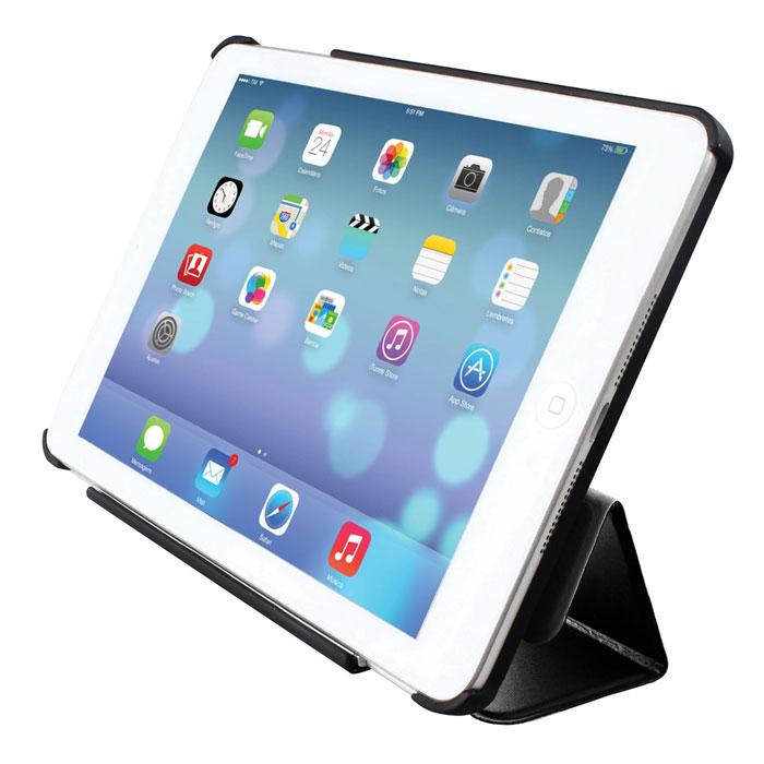 Promate Reel-mini чехол для iPad mini, Black00007601Promete Reel.mini - уникальный защитный чехол из кожи премиум класса с поворотным механизмом, позволяет надежно фиксировать планшет в руке, когда вы находитесь в движении. Встроенный в крышку магнит обеспечит надежное закрывание, когда вы не пользуетесь вашим iPad mini. Также доступна функция авто-слип. Поворотная ручка позволяет легко изменять угол обзора экрана, при этом Reel.mini жестко фиксируется на кисти руки. Раскладная конструкция позволяет использовать Reel.mini как подставку с регулируемым углом наклона экрана для наибольшего комфорта пользователя. Материалом отделки внутренней части служит мягкая микрофибра, надежно защищающая экран от потертостей и царапин. Специально спроектированный для Apple iPad mini, чехол обеспечивает удобный доступ ко всем портам, кнопкам управления и камерам. Promete Reel.mini - защита iPad mini в движении.