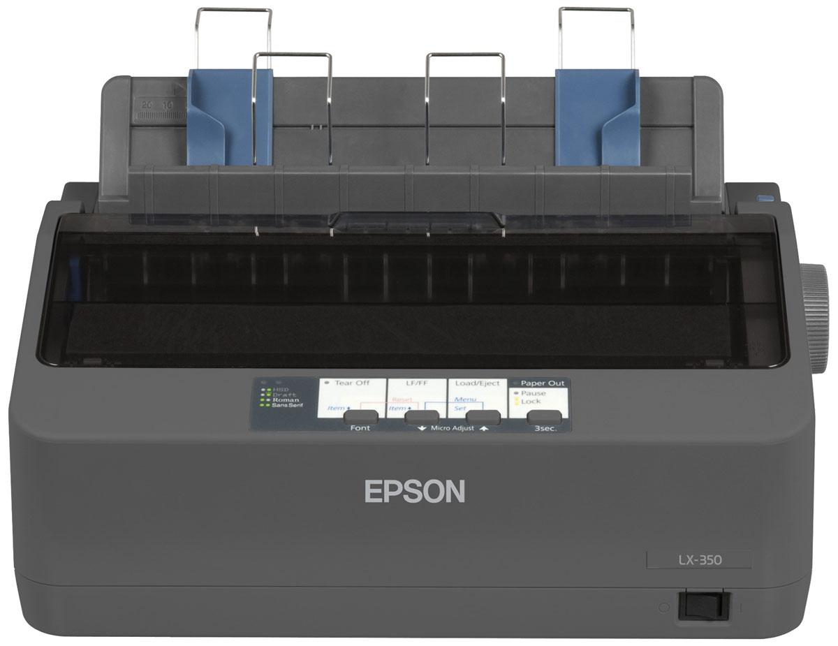 Epson LX-350 принтерC11CC24031Принтер Epson LX-350 идеален как для фронт-, так и бэк-офисов, где есть задачи по печати на непрерывном носителе. Данный принтер можно смело назвать самым быстрым в своем классе, ведь скорость печати может достигать 357 cps (12 cpi) в режиме HSD. Epson LX-350 легко интегрировать в имеющуюся инфраструктуру любой организации, т.к. в исходной модификации он оснащен параллельным, серийным и USB интерфейсами. Устройство обладает компактным дизайном, что позволяет вписывать его в ограниченное пространство. Это один из самых экономичных принтеров в своем классе за счет повышенного ресурса картриджа (4 млн символов) и низкого энергопотребления. Epson LX-350 использует всего 1,1 Вт в спящем режиме и 2,7 Вт в рабочем. Данный принтер сертифицирован Energy Star благодаря своей эффективности. В свою очередь у нового устройства по сравнению с предшественником будет отсутствовать ряд невостребованных опций, таких как: комплект для цветной печати, податчик обрезных листов. ...