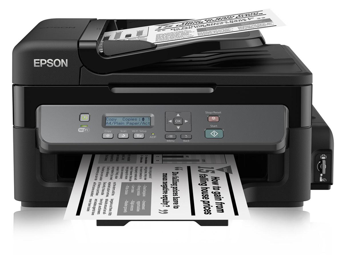 Epson M205 МФУC11CD07401Монохромный Принтер-сканер-копир с рекордно низкой себестоимостью печати и подключением по Wi-Fi Epson М205 - это высокоскоростное струйное монохромное МФУ большими емкостями для чернил объемом 140 мл, автоподатчиком для сканирования документов емкостью на 30 листов и возможностью беспроводного подключения по Wi-Fi. Благодаря использованию чернильных емкостей вместо картриджей данное устройство дает возможность печатать документы с рекордно низкой себестоимость, а за счет печати пигментными чернилами отпечатки мгновенно высыхают их качество не уступает отпечаткам сделанным на лазерном принтере. Рекордно низкая себестоимость печати Благодаря большим емкостям и контейнерам с пигментными чернилами по 140 мл вы сможете напечатать большой объем документов по рекордно низкой цене: всего 15 копеек за отпечаток формата А4 Высокий ресурс расходных материалов Расходными материалами к Монохромной Фабрике печати служат контейнеры с чернилами высоким...