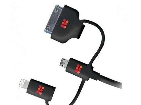 Promate linkMate-Trio, Black кабель USB00008408Promate linkMate.trio - это великолепное многофункциональное решение для синхронизации и зарядки ваших гаджетов. Его можно использовать ежедневно со всеми девайсами, которыми вы пользуетесь, вне зависимости от разъемов, используемых в них. В одном кабеле объединили сразу четыре самых популярных коннектора, такие как USB / Lightning, Apple 30-pin и Micro-USB. Заряжайте ваш iPhone или перекачивайте информацию с Samsung Note 4 - linkMate.trio применим везде. Три провода по цене одного. Изготовлен прочного flexShield материала, надежен и безопасен. Ворох ненужных кабелей заменит Promate linkMate.trio!