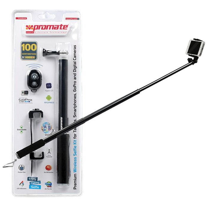 Promate monoPro-Uni монопод для селфи, Black00008414С Promate monoPro-Uni вам удастся сделать шикарные селфи на смартфон, фотокамеру или GoPro. Просто установите камеру в держатель, направьте объектив на себя и всего одним нажатием на кнопку поставляемого в комплекте Bluetooth пульта сделайте снимок. Никаких таймеров, никаких ограничений. monoPro-Uni это лучший спутник в путешествие он поможет зафиксировать самые потрясающие моменты вашей жизни.