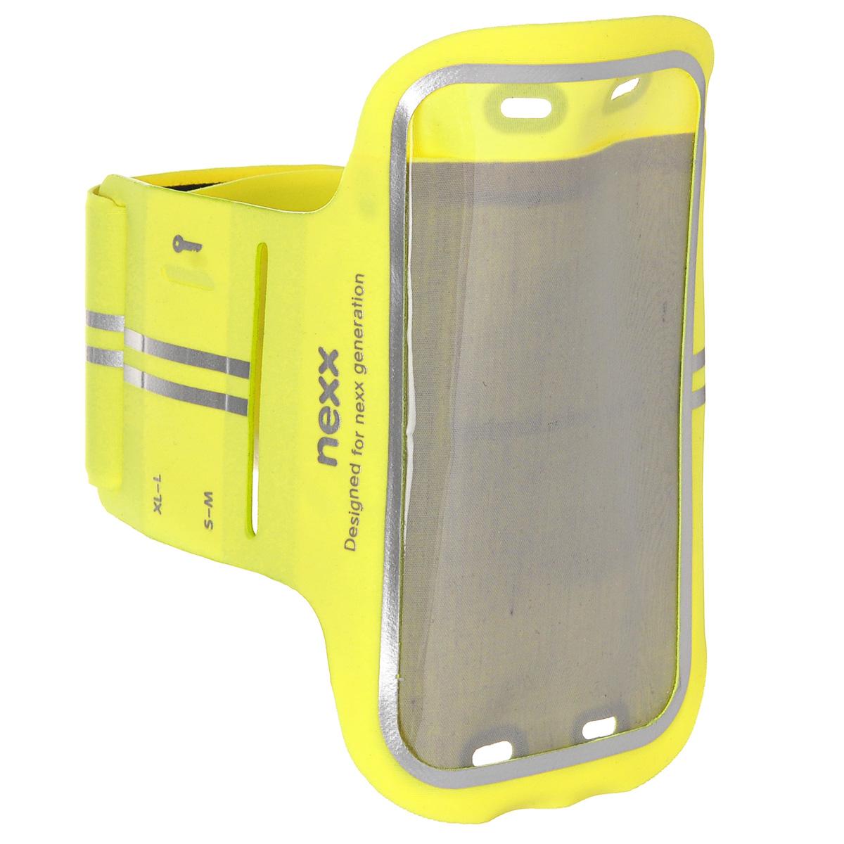 Спортивный наручный чехол для смартфонов до 5, Nexx, SP-AL-01-GN,цвет: лайкра, желтыйNX-SP-AL-01-GNНаручный регулируемый спортивный чехол для смартфонов с экраном до 5 с регулируемой застежкой позволяет легко и с комфортом носить смартфон во время занятий. Водонепроницаемый материал - тонкая высококачественная лайкра позволит защитить смартфон от влаги и брызг. Регулируемая застежка подойдет под любой обхват руки. Чехол надевается на предплечье - наиболее удобное место для переноски и пользования смартфона во время тренировки, при этом руки остаются свободными не ограничивая движения. Чехол открывает прямой доступ ко всем функциям телефона и подходит для iPhone 6, 5s/5c/5, 4s/4, Samsung Galaxy S3/S4/S5, и других смартфонов с максимальным размером 14,2 х 7,2 см.
