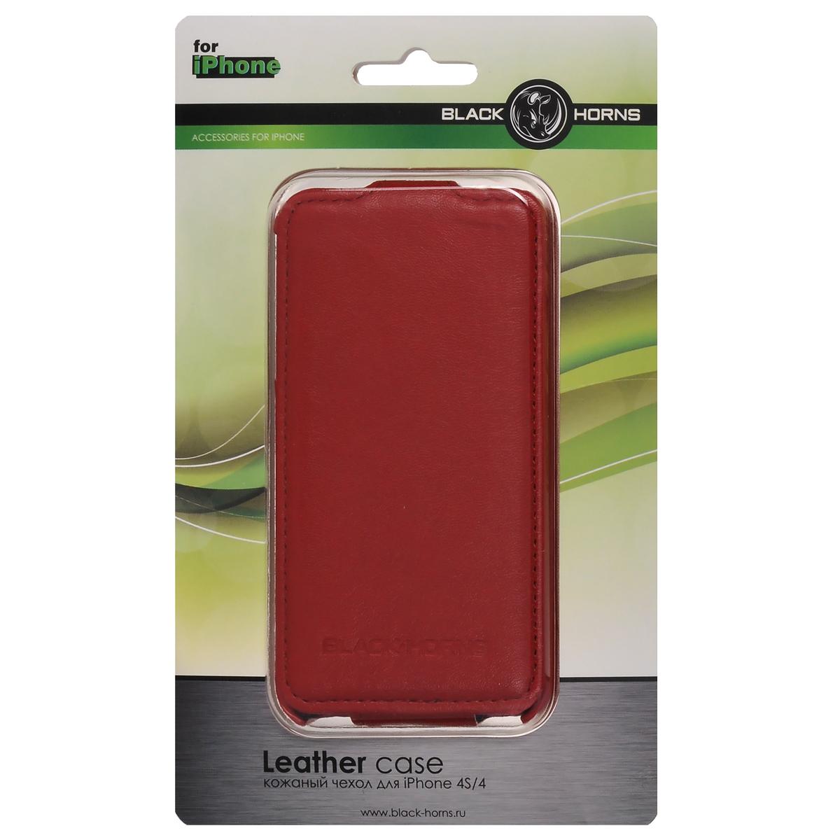 Black Horns чехол для iPhone 4/4S, Red (BH-iP4201)BH-iP4201( R)Чехол Black Horns для iPhone 4/4S изготовлен из натуральной кожи. Такой чехол имеет жесткий каркас и удобную застежку, он поможет защитить ваш iPhone от сколов и царапин. Обеспечивает свободный доступ к функциональным кнопкам.