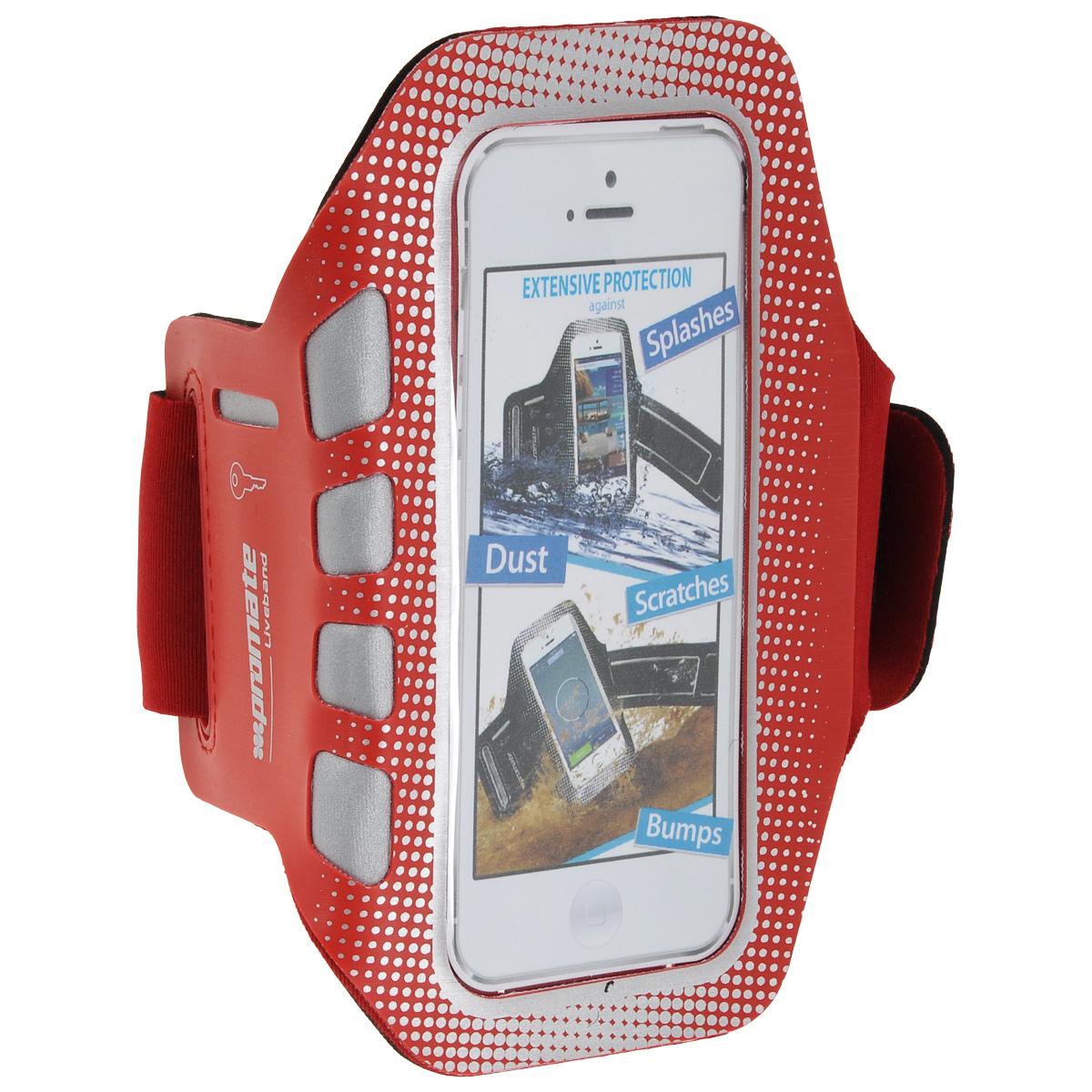 Promate Liveband чехол для iPhone 5/5s, Red00007847Чехол Promate Liveband для iPhone 5/5s - аксессуар, который должен иметь каждый человек, кто занимается спортом, вне зависимости, что это за вид спорта: гимнастика, бег, упражнения в зале и т.д. Этот удобный и очень легкий чехол предохранит ваш смартфон от любого вида повреждений, падений, ударов, царапин, пота и капель воды. Liveband сделан из легковесного материала и крепится на любое предплечье, как широкое, так и узкое. А это значит, что ваши руки всегда будут свободными, а телефон - доступным. Чехол также оснащен специальным кармашком для ключей. Идите и занимайтесь спортом с вашим Liveband!