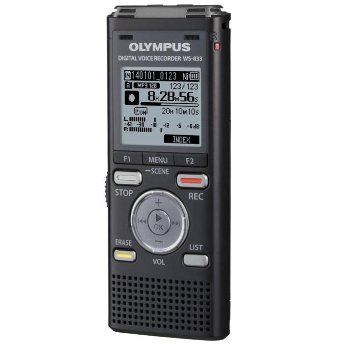 Olympus WS-833PC, Black диктофон0274548Конструкция микрофона, встроенного в диктофон Olympus WS-833, рассчитана на низкий уровень шума, а установка микрофонов под углом 90° обеспечивает отличную стерео запись, позволяя вам почувствовать атмосферу мероприятия, включая направление и местонахождение ораторов во время встречи или конференции. Благодаря высокой функциональности и широкому набору функций, флагманская модель серии WS - это удобный помощник для вашего бизнеса, сочетающий в себе качество и функциональность. Прямое подключение USB-порт Режимы записи: формат WMA: HQ - 505 ч, LP - 1980 ч формат МР-3: 256 kbps - 65 ч, 128 kbps - 130 ч формат PCM (WAV) 44.1 кГц / 16 бит - 11 ч 30 мин Максимальное время записи: 1980 ч (режим LP) Режим воспроизведения: формат PCM (WAV) / MP3 / WMA: частота HQ 44.1 кГц / 32 кб/сек, LP 8 кГц / 8 кб/сек MP3: 44.1 кГц / 128 - 256 кб/сек PCM 44.1 кГц / 16 бит Частотный диапазон: MP3: 256 кб/сек / 40 - 20000 Гц, 128...