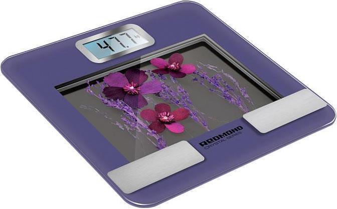 Redmond RS-730, Purple напольные весыRS-730Индикация параметров телосложения: жировая, мышечная, костная ткани и жидкость в организме Учет возраста, пола и роста пользователя Расчет индекса массы тела (ИМТ) 10 ячеек памяти 4 высокочувствительных датчика Диапазон измерений от 5 до 180 кг с точностью 100 г Сенсорное управление ЖК-дисплей с подсветкой Платформа из закаленного стекла Выбор единицы измерения: килограммы/фунты/стоуны Автоматическое включение/выключение Индикатор перегрузки