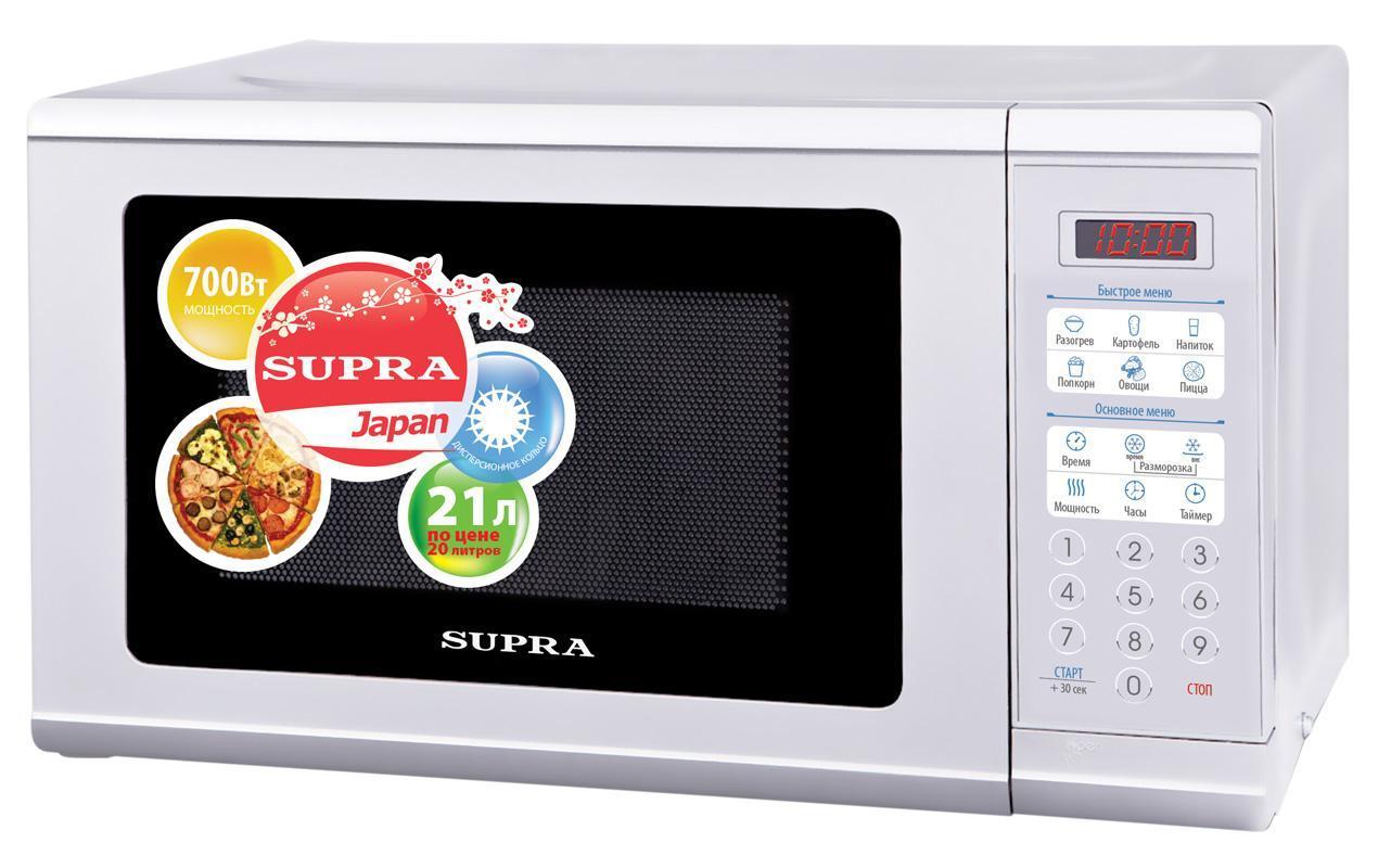 Supra MWS-2108SW СВЧ-печьMWS-2108SWДизайн микроволновой печи Supra MWS-2108SW позволит ей органично влиться в общий дизайн кухни, а большое количество полезных функций, сделает ее незаменимой помощницей в приготовлении вкусных блюд.