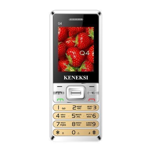 Keneksi Q4, GoldA0102-101014Металлический корпус прочен и солиден Вы будете приятно удивлены солидностью и имиджевым зарядом такого доступного телефона, как Keneksi Q4. От казалось бы простой, дешевой «звонилки» никак не ждешь стильного, «дорогого» металлического корпуса. Причем из благородного материала сделана не только задняя крышка, но и фронтальная часть. Он приятно холодит руку, вселяет уверенность в надежности девайса. И, конечно, отлично выглядит. С таким аппаратом не стыдно появиться «на людях». Жаль, что экран несколько отстает в этом плане, обладая скромным разрешением и небольшой диагональю в 1.77 дюйма. Удобство двух сим-карт в доступном моноблоке В телефоне Keneksi Q 4 реализована возможность работы с двумя сим-картами. Это полноценный 2SIM аппарат, при этом реализация двухсимочного режима не уступает лучшим моделям на рынке. Обе сим-карты работают синхронно, вы можете принимать вызовы на любую из них без необходимости какого-либо переключения, а выбирать активную линию для...