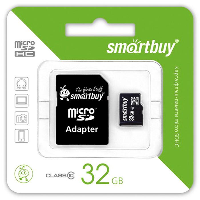 SmartBuy microSDHC Сlass 10 32GB карта памяти (с адаптером SD)SB32GBSDCL10-01Помимо высокой скорости работы и достаточно большого размера памяти карта памяти SmartBuy microSDHC Сlass 10 32GB отличается своей надежностью хранения информации. Несмотря на маленькие размеры карты памяти, она является идеальным вариантом хранения цифровой информации в устройствах с поддержкой MicroSDHC, miniSD, SD.