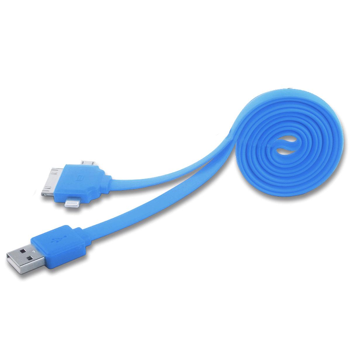 Harper CCH-401, Blue универсальный USB кабель 3-в-1CCH-401 blueСупер-функциональный кабель 3-в-1 Harper CCH-401 позволяет не только заряжать, но и синхронизировать одновременно 3 устройства с помощью 3 коннекторов: Micro USB, Lightning, Apple 30-pin. Больше никакой путаницы и неразберихи — один кабель для всей техники! Заряжайте и синхронизируйте одновременно 3 устройства! С этим кабелем вы забудете, о клубках из проводов, куче переходников и самое главное - вам не придется заряжать ваши гаджеты по очереди, так что никто не будет обделен зарядкой.