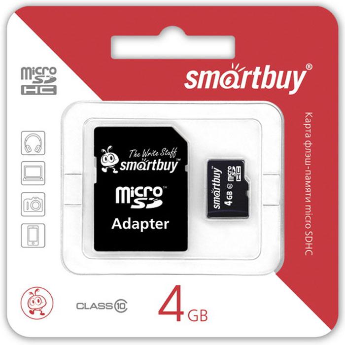 SmartBuy microSDHC Сlass 10 4GB карта памяти (с адаптером SD)