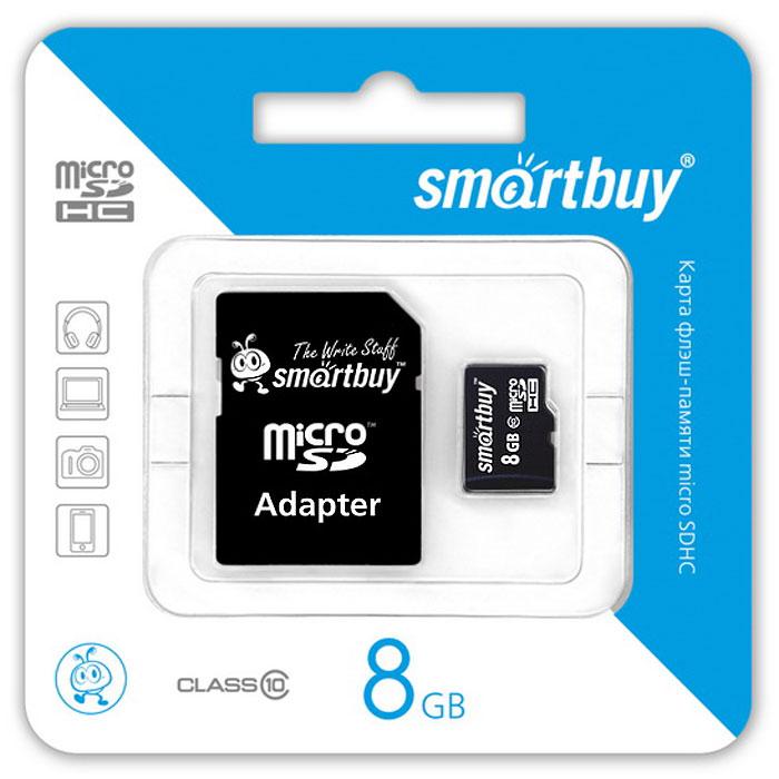 SmartBuy microSDHC Сlass 10 8GB карта памяти (с адаптером SD)SB8GBSDCL10-01Высоко скоростная 8-гигабайтная карта памяти SmartBuy microSDHC Сlass 10 8GB. Помимо высокой скорости работы и достаточно большого размера памяти карта памяти SmartBuy microSDHC Сlass 10 8GB отличается своей надежностью хранения информации. Несмотря на маленькие размеры карты памяти, она является идеальным вариантом хранения цифровой информации в устройствах с поддержкой MicroSDHC, miniSD, SD.