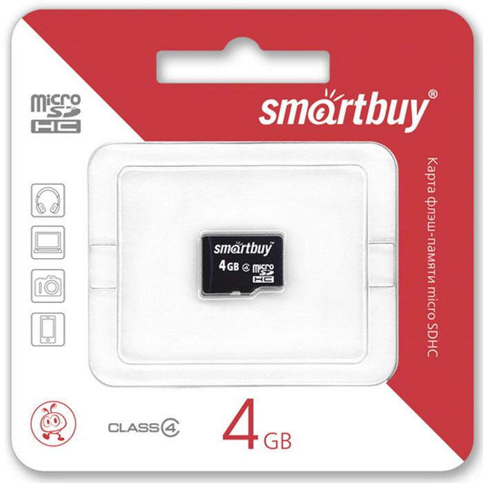SmartBuy microSDHC Сlass 4 4GB карта памяти (без адаптера)