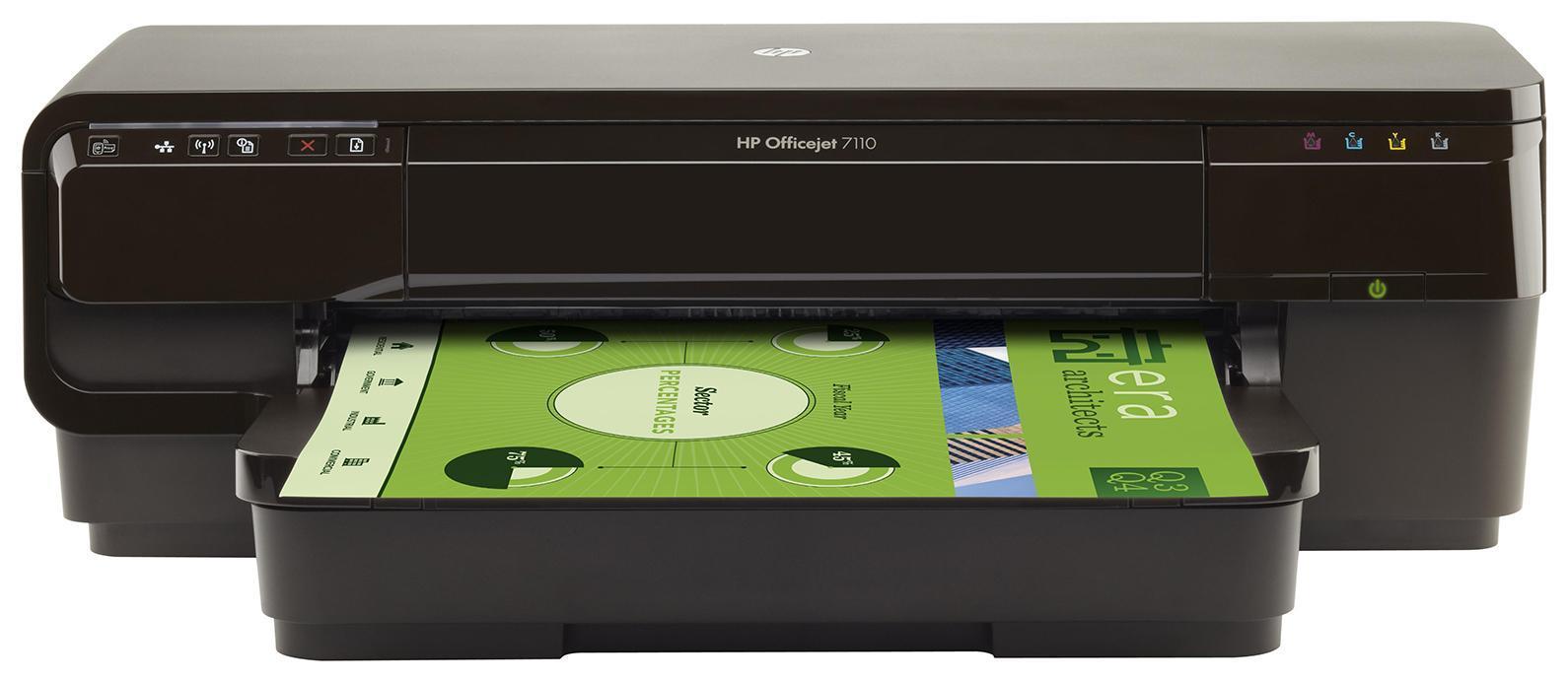 HP Officejet 7110 (H812a) струйный принтерCR768AСделайте больше собственными силами благодаря доступному, надежному принтеру HP ePrinter. Создавайте маркетинговые материалы профессионального качества размерами от почтовых открыток до A3+. Возможность совместной работы с помощью беспроводной сети 1 и возможность печати практически из любого места. 2