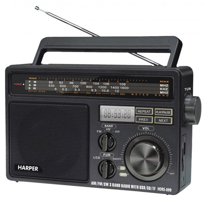Harper HDRS-099 портативный радиоприемникHDRS-099Harper HDRS-099 - портативный радиоприемник, работающих в диапазонах AM, FM и SW. Вся необходимая информация отображается на встроенном монохромном дисплее. Вы также можете осуществлять проигрывание музыки с внешних источников, благодаря порту USB и слоту для карт памяти SD. Тип элементов питания: 4.5 В (UM-1) Максимальная выходная мощность: 1300 мВт Максимальная потребляемая мощность: 3 Вт