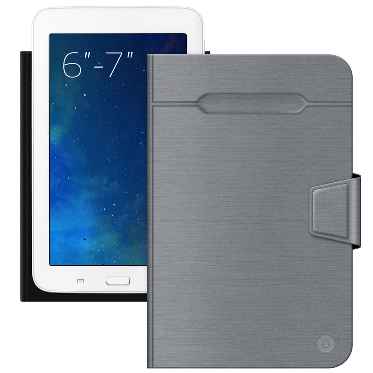 Deppa Wallet Fold чехол-подставка для планшетов и электронных книг 6-7, Grey87026Универсальный чехол Deppa Wallet Fold предназначен для защиты корпуса планшета или электронной книги диагональю 6-7 от механических повреждений и царапин в процессе эксплуатации. Верхняя часть чехла отгибается для фотографирования. Функция подходит для планшетов с любым расположением камер. Устройство фиксируется внутри чехла при помощи клеевого стикера. Имеется свободный доступ ко всем разъемам и кнопкам устройства.