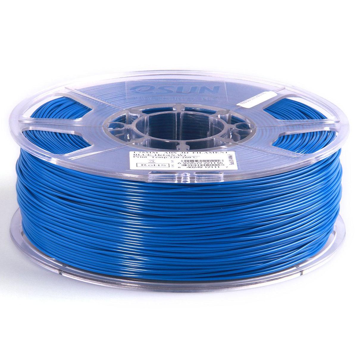 ESUN пластик ABS в катушке, Blue, 1,75 ммABS175U1Пластик ABS от ESUN долговечный и очень прочный полимер, ударопрочный, эластичный и стойкий к моющим средствам и щелочам. Один из лучших материалов для печати на 3D принтере. Пластик ABS не имеет запаха и не является токсичным. Температура плавления 220-260°C. АБС пластик для 3D-принтера применяется в деталях автомобилей, канцелярских изделиях, корпусах бытовой техники, мебели, сантехники, а также в производстве игрушек, сувениров, спортивного инвентаря, деталей оружия, медицинского оборудования и прочего. Диаметр пластиковой нити: 1.75 мм