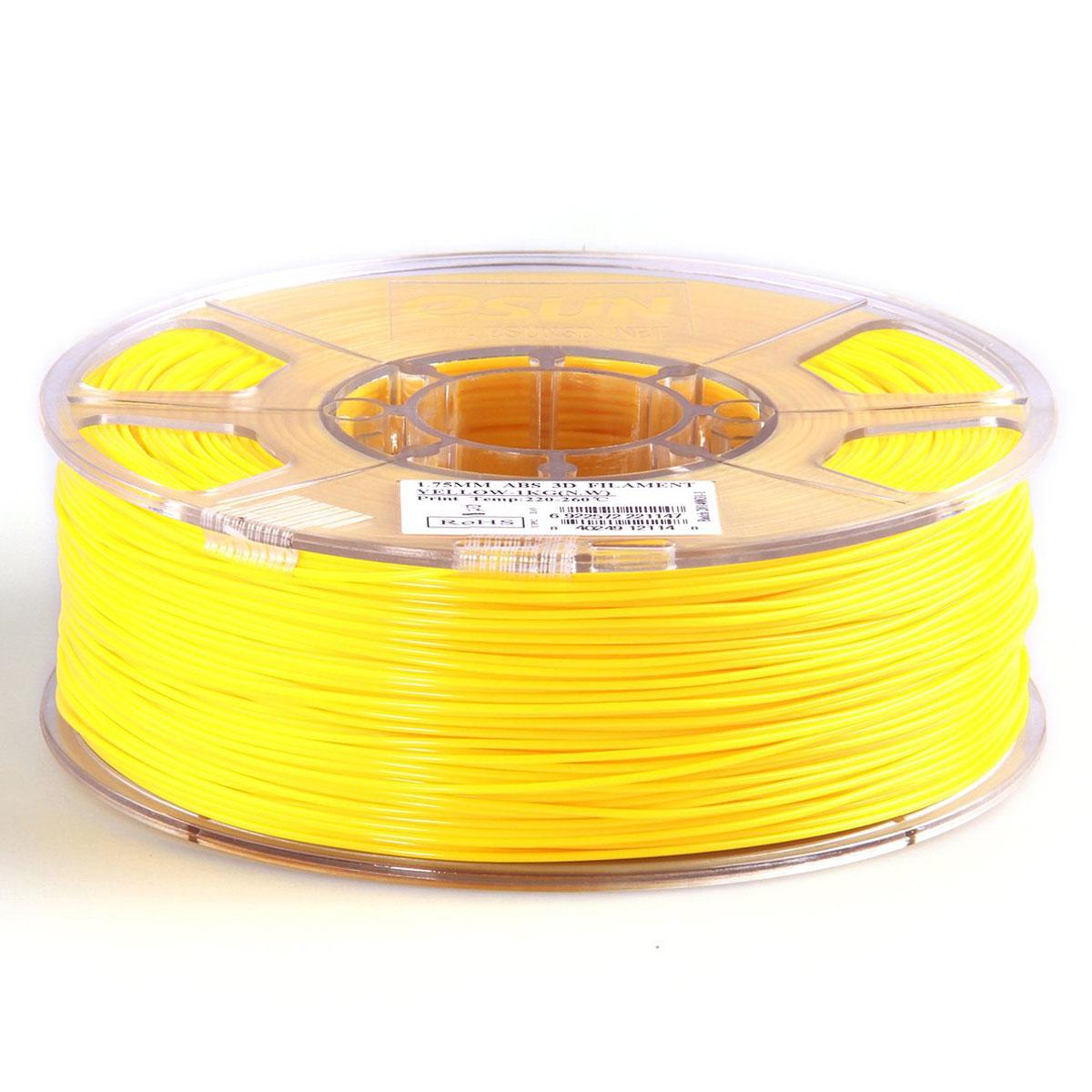 ESUN пластик ABS в катушке, Yellow, 1,75 ммABS175Y1Пластик ABS от ESUN долговечный и очень прочный полимер, ударопрочный, эластичный и стойкий к моющим средствам и щелочам. Один из лучших материалов для печати на 3D принтере. Пластик ABS не имеет запаха и не является токсичным. Температура плавления 220-260°C. АБС пластик для 3D-принтера применяется в деталях автомобилей, канцелярских изделиях, корпусах бытовой техники, мебели, сантехники, а также в производстве игрушек, сувениров, спортивного инвентаря, деталей оружия, медицинского оборудования и прочего. Диаметр пластиковой нити: 1.75 мм