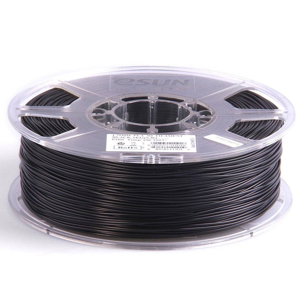ESUN пластик PLA в катушке, Black, 1,75 ммPLA175B1Пластик PLA от ESUN долговечный и очень прочный полимер, ударопрочный, эластичный и стойкий к моющим средствам и щелочам. Один из лучших материалов для печати на 3D принтере. Пластик не имеет запаха и не является токсичным. Температура плавления 190-220°C. PLA пластик для 3D-принтера применяется в деталях автомобилей, канцелярских изделиях, корпусах бытовой техники, мебели, сантехники, а также в производстве игрушек, сувениров, спортивного инвентаря, деталей оружия, медицинского оборудования и прочего. Диаметр нити: 1.75 мм