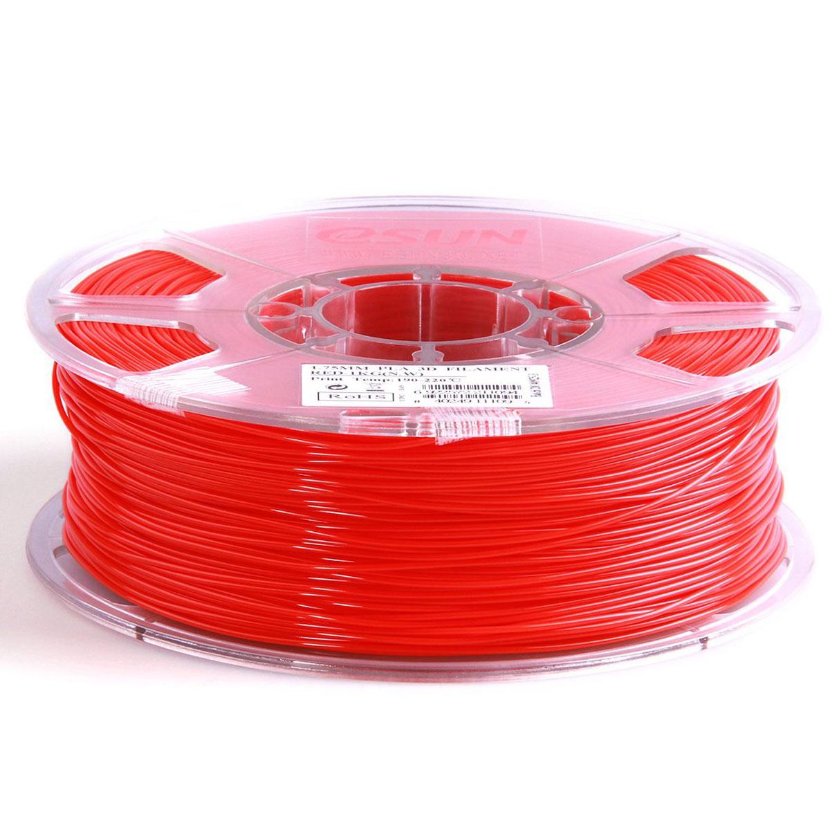 ESUN пластик PLA в катушке, Red, 1,75 ммPLA175R1Пластик PLA от ESUN долговечный и очень прочный полимер, ударопрочный, эластичный и стойкий к моющим средствам и щелочам. Один из лучших материалов для печати на 3D принтере. Пластик не имеет запаха и не является токсичным. Температура плавления 190-220°C. PLA пластик для 3D-принтера применяется в деталях автомобилей, канцелярских изделиях, корпусах бытовой техники, мебели, сантехники, а также в производстве игрушек, сувениров, спортивного инвентаря, деталей оружия, медицинского оборудования и прочего. Диаметр нити: 1.75 мм