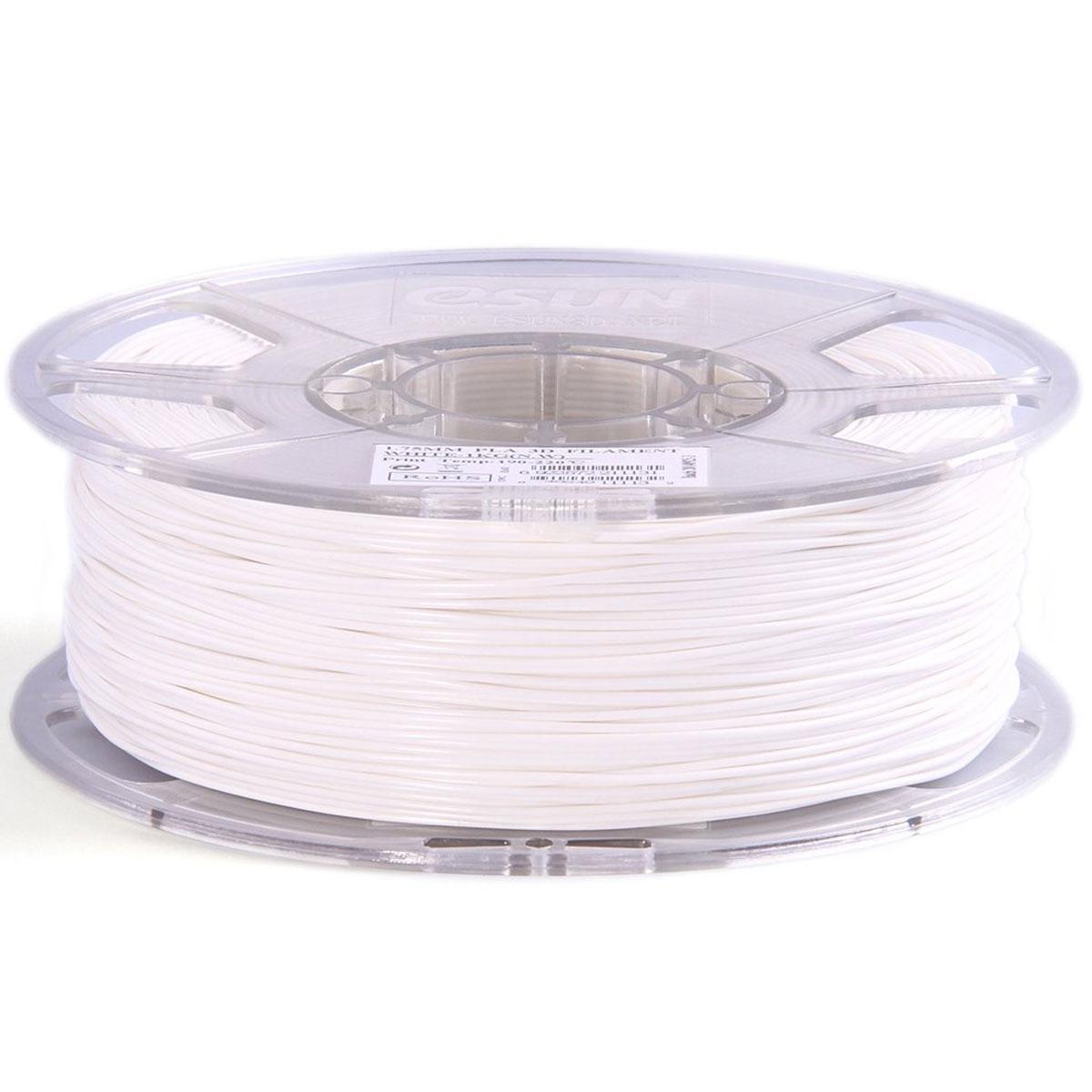 ESUN пластик PLA в катушке, White, 1,75 ммPLA175W1Пластик PLA от ESUN долговечный и очень прочный полимер, ударопрочный, эластичный и стойкий к моющим средствам и щелочам. Один из лучших материалов для печати на 3D принтере. Пластик не имеет запаха и не является токсичным. Температура плавления 190-220°C. PLA пластик для 3D-принтера применяется в деталях автомобилей, канцелярских изделиях, корпусах бытовой техники, мебели, сантехники, а также в производстве игрушек, сувениров, спортивного инвентаря, деталей оружия, медицинского оборудования и прочего. Диаметр нити: 1.75 мм