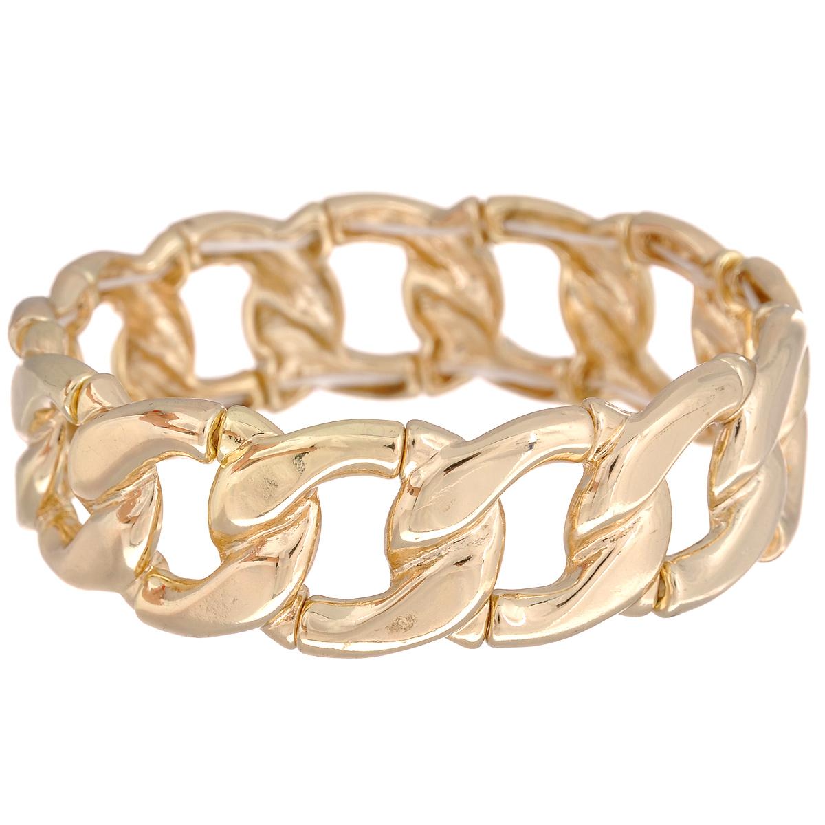 Браслет Taya, цвет: золотистый. T-B-5851T-B-5851-BRAC-GOLDСтильный женский браслет Taya выполнен из металла. Элементы браслета соединены внутри тонкой резинкой, благодаря которой изделие легко снимается и одевается. Размер универсальный. Модный браслет дополнит повседневный и праздничный образ, подчеркнув достоинства женской ручки.