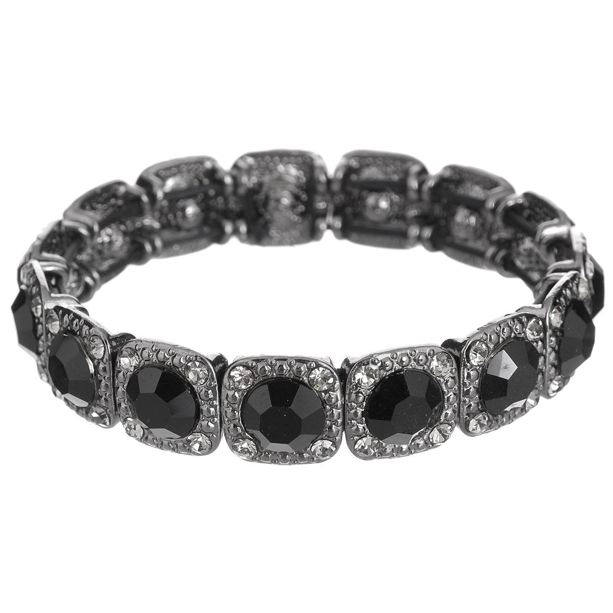 Браслет Taya, цвет: черный. T-B-6255T-B-6255-BRAC-HM.JETСтильный браслет Taya выполнен из металла и оформлен стразами. Элементы браслета соединены с помощью тонкой резинки, благодаря этому он легко одевается и снимается. Размер браслета универсальный. Браслет Taya - это модный стильный аксессуар, призванный подчеркнуть индивидуальность и очарование его обладательницы.