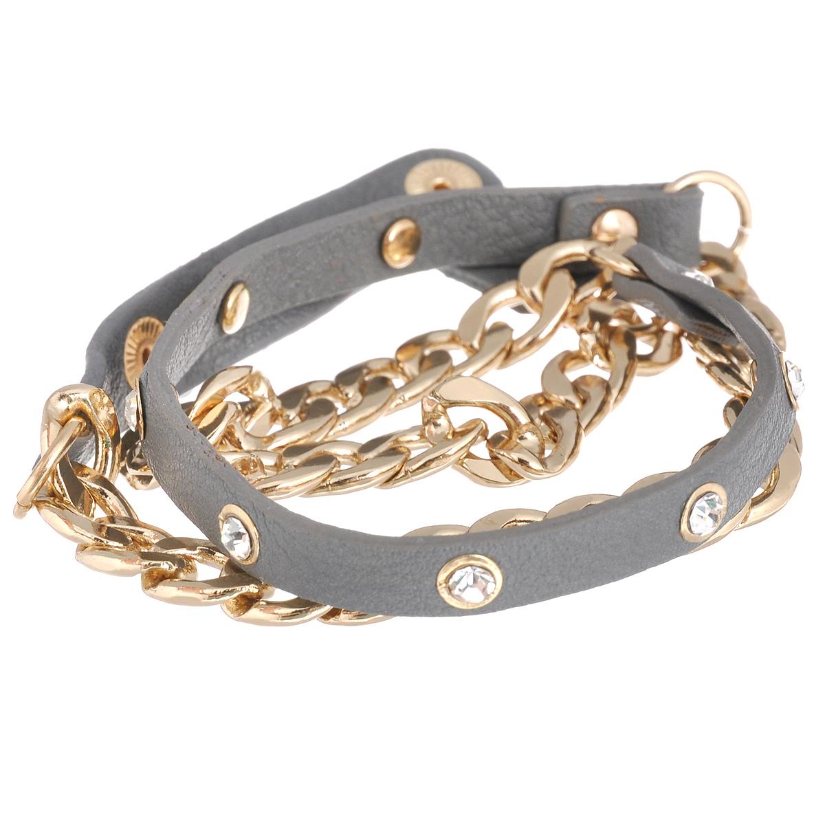 Браслет Taya, цвет: золотистый, серый. T-B-6204T-B-6204-BRAC-GL.GRAYСтильный браслет Taya выполнен из металла и натуральной кожи. Изделие оформлено стразами. Браслет накручивается на руку и застегивается на кнопки. Размер браслета универсальный. Он легко снимается и одевается. Модный браслет дополнит повседневный и праздничный образ, подчеркнув достоинства женской ручки.
