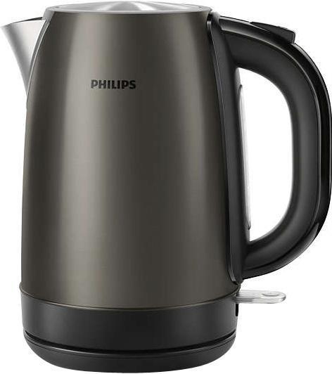 Philips HD9322/82, Titanium электрический чайникHD9322/82Надежный и стильный металлический чайник изготовлен из нержавеющей стали и отличается долгим сроком службы Надежный и безопасный регулятор чайника разработан в Великобритании Встроенный нагревательный элемент из нержавеющей стали обеспечивает быстрое кипячение и простую чистку. Съемный фильтр от накипи для чистой воды и чистого чайника Наполнить чайник можно через носик или открыв крышку Широко открывающаяся крышка на пружине для удобного наполнения и очистки исключает контакт с паром Понятный индикатор уровня воды Шнур оборачивается вокруг основания, что позволяет легко разместить чайник на кухне Элегантная подсветка кнопки включения/выключения уведомляет о процессе нагрева воды Беспроводная подставка с поворотом на 360 ° для удобства использования Комплексная система безопасности для предотвращения короткого замыкания и выкипания воды. Функция автовыключения...