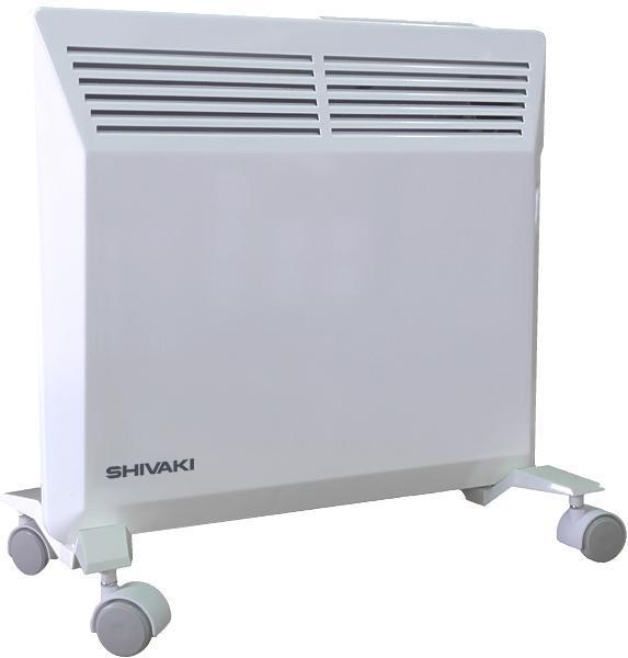 Shivaki SHIF-EC102W конвекционный обогревательSHIF-EC102WБытовой электрический обогреватель конвекционного типа SHIVAKI SHIF-EC102W поможет Вам решить задачи по созданию уютного и комфортного тепла в Вашем доме. Принцип идеально правильной конвекции, используемый в электрообогревателе, позволяет быстро обогреть помещение площадью до 15 кв.м. При работе обогреватель не сжигает пыль и кислород, не сушит воздух, на 100% пожаробезопасен, т.к. снабжен системой безопасности – защитой от перегрева и датчиком защиты от опрокидывания. Использование в электрообогревателях усовершенствованного Х-образного нагревательного элемента гарантирует бесшумную работу. Данная модель обогревателя пригодна как для напольной установки, так и для настенного монтажа. Кронштейн и колесики входят в комплект.