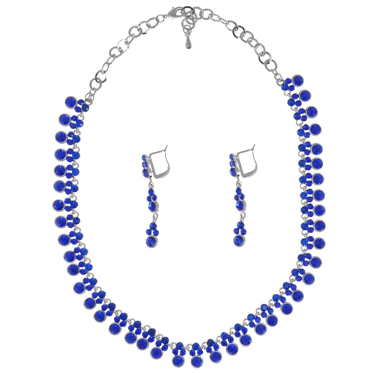 Комплект украшений Taya: колье, серьги, цвет: темно-синий, серебристый. T-B-9534