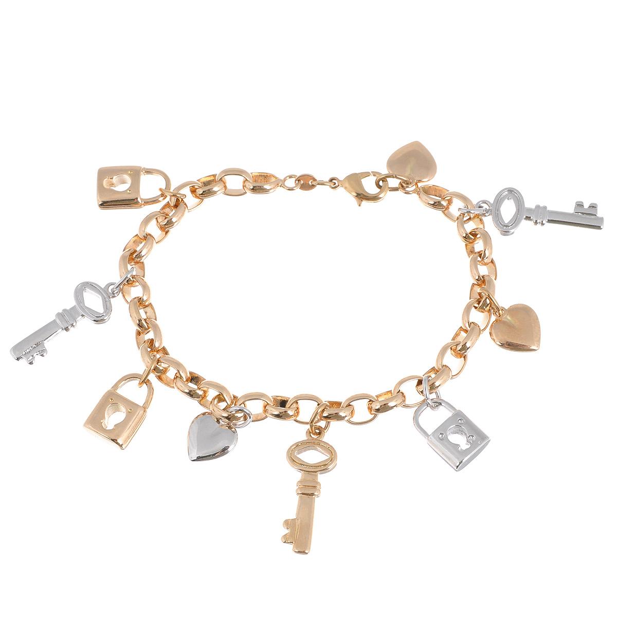 Браслет Taya, цвет: золотистый, серебристый. T-B-9408T-B-9408-BRAC-GOLDСтильный женский браслет Taya изготовлен из металлического сплава золотистого и цвета. Изделие дополнено подвесками в виде декоративных сердец, ключиков и замочков. Браслет застегивается на замок-карабин. Это необычное украшение отлично разбавит ваш повседневный образ, добавит в него изюминку. С помощью него вы сможете подчеркнуть свою индивидуальность и выделиться среди окружающих.