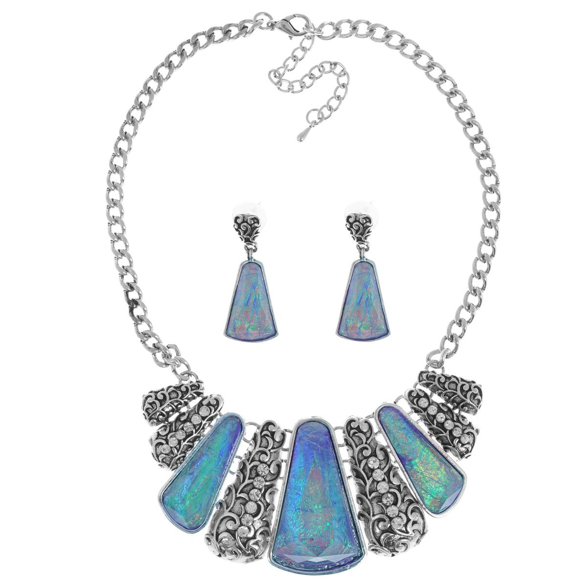 Комплект украшений Taya: колье, серьги, цвет: мультиколор, синий. T-B-9271