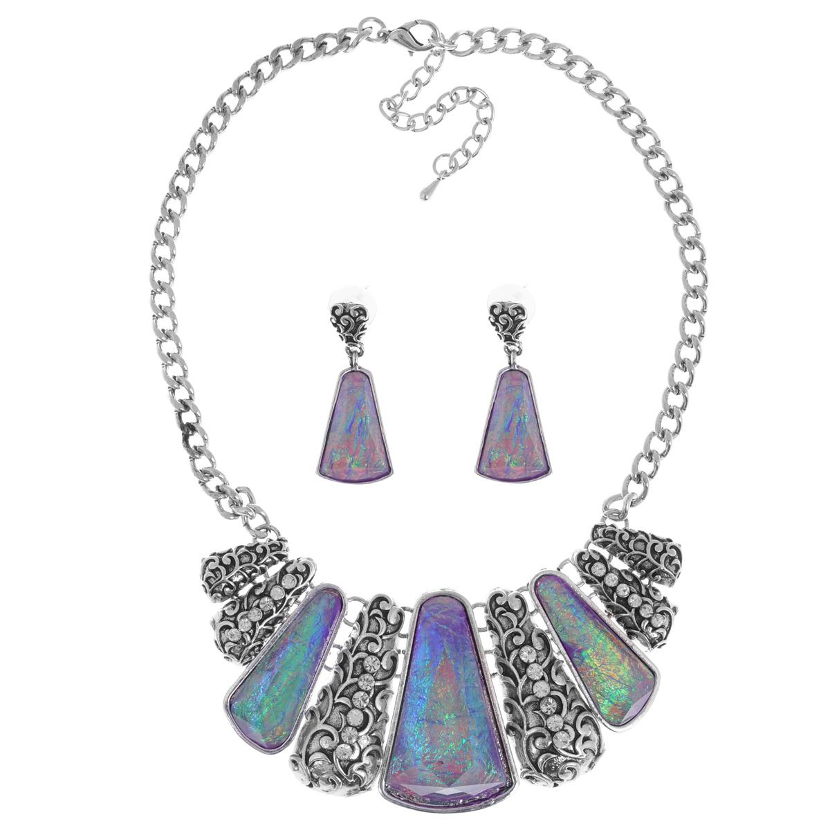 Комплект украшений Taya: колье, серьги, цвет: мультиколор, пурпурный. T-B-9273