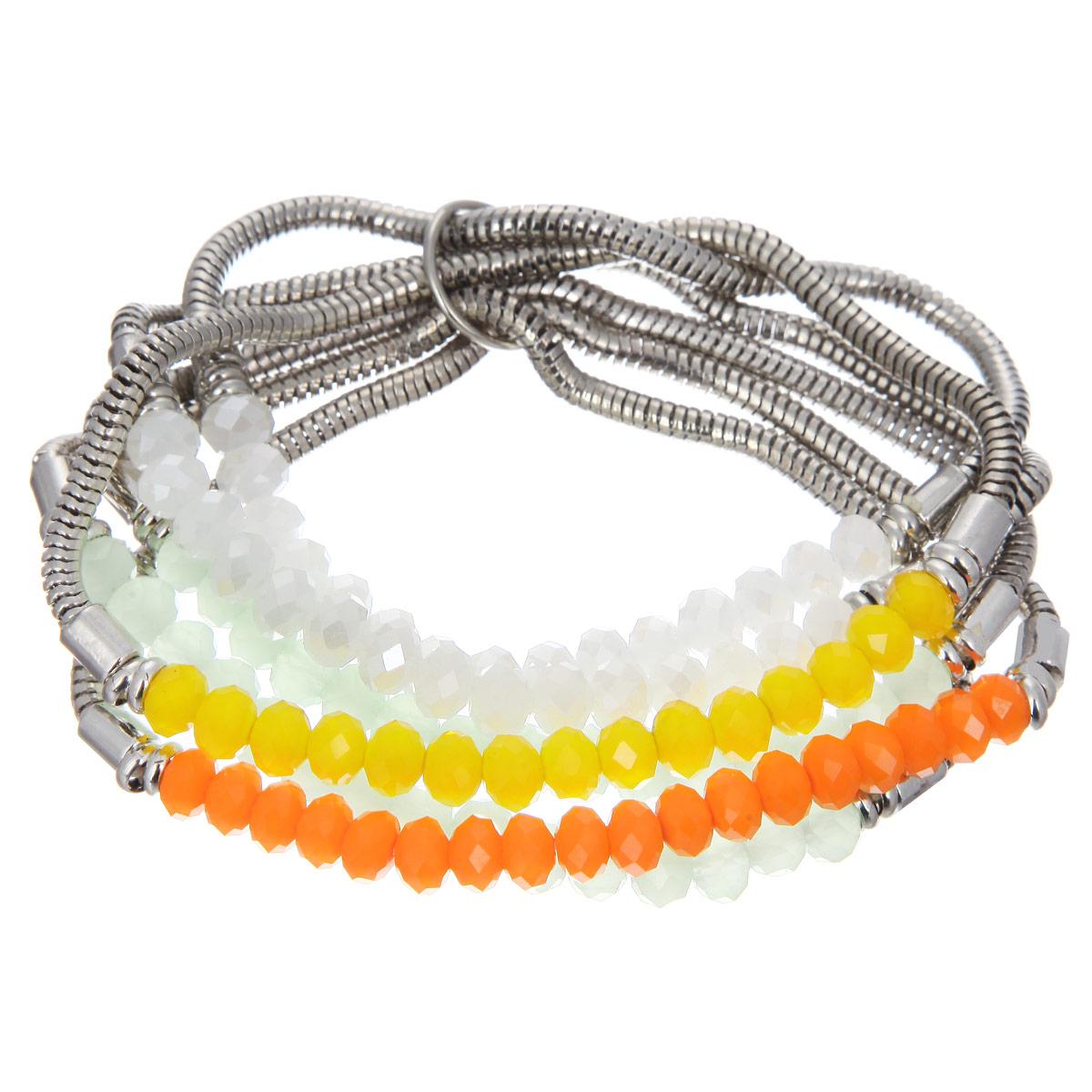 Браслет Taya, цвет: белый, зеленый, оранжевый, желтый. T-B-8293-BRAC-MULTI - TayaT-B-8293-BRAC-MULTIСтильный женский браслет Taya выполнен в виде шести цепочек из ювелирного сплава, которые дополнены вставками из эластичной резинки с нанизанными на нее гранеными бусинами из стекла. Благодаря эластичной вставке изделие идеально разместиться на запястье. Такой браслет позволит вам с легкостью воплотить самую смелую фантазию и создать собственный неповторимый образ.
