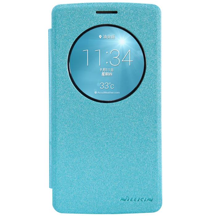 Nillkin Sparkle Leather Case чехол для LG G3 Beat, BlueT-N-LG3B-009Чехол Nillkin Sparkle Leather Case для LG G3 Beat изготовлен из высококачественной искусственной кожи с перламутровым покрытием. Основа чехла состоит из поликарбоната. Благодаря чувствительному материалу, из которого выполнено функциональное окно, отсутствует необходимость открывать чехол для того, чтобы ответить на вызов, проверить время, воспользоваться камерой или любой другой функцией. Очень удобно и практично. Ультратонкий Водостойкий Противоскользящий Функциональность: умный сон, автопробуждение