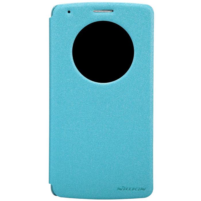 Nillkin Sparkle Leather Case чехол для LG G3 (D855), BlueT-N-LGG3-009Чехол Nillkin Sparkle Leather Case для LG G3 (D855) изготовлен из высококачественной искусственной кожи с перламутровым покрытием. Основа чехла состоит из поликарбоната. Благодаря чувствительному материалу, из которого выполнено функциональное окно, отсутствует необходимость открывать чехол для того, чтобы ответить на вызов, проверить время, воспользоваться камерой или любой другой функцией. Очень удобно и практично. Ультратонкий Водостойкий Противоскользящий Функциональность: умный сон, автопробуждение