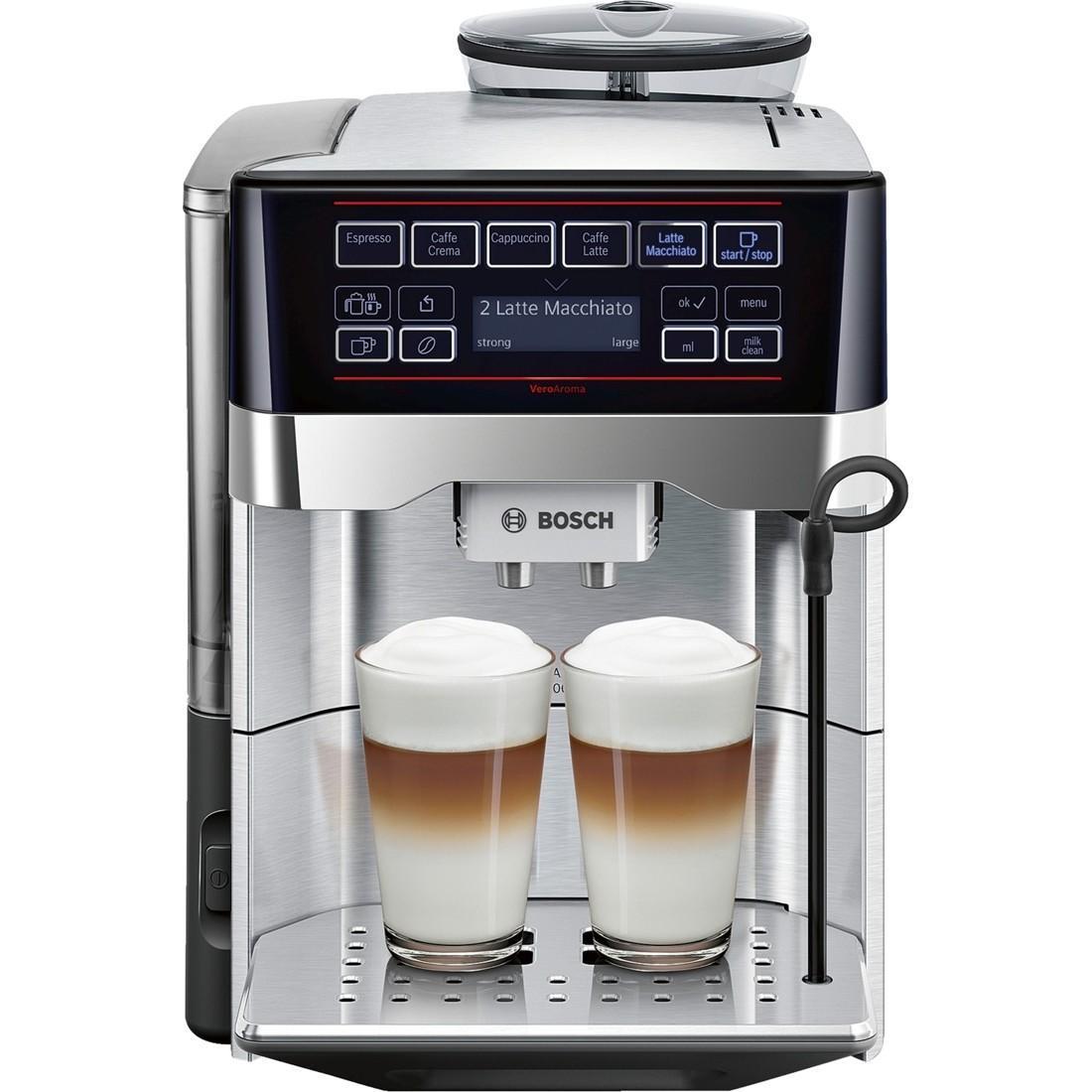 Bosch TES60729RW VeroAroma кофемашинаTES60729RWМногообразие рецептов: эспрессо, кафе крема, капучино, кафе латте, латте макиато и др. Изысканные напитки вкусно и быстро. OneTouch DoubleCup: одновременное приготовление напитков с молоком сразу для 2-х чашек Инновационный проточный нагреватель Intelligent Heater inside: правильная температура заваривания кофе и полноценный аромат благодаря технологии SensoFlowSystem MilkClean: чистка молочной системы нажатием одной кнопки. Гигиенично, быстро и просто. Еще больший комфорт обеспечит подсветка чашек.