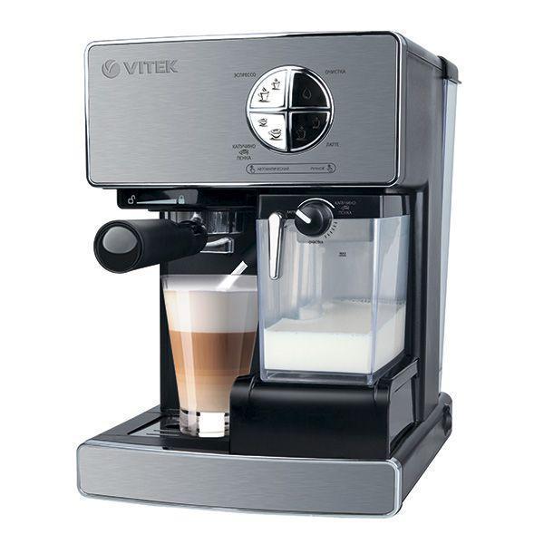 Vitek VT-1516 (SR) кофеваркаVT-1516(SR)Чашечка бодрящего напитка является обязательным условием пробуждения практически каждого из нас. Чтобы кофе превратился в поистине вкусный, ароматный и насыщенный напиток, без кофеварок VITEK не обойтись. Стильная техника привнесет изюминку в интерьер любой кухни, а высокая производительность прибора и быстрое приготовление напитка доставит удовольствие.