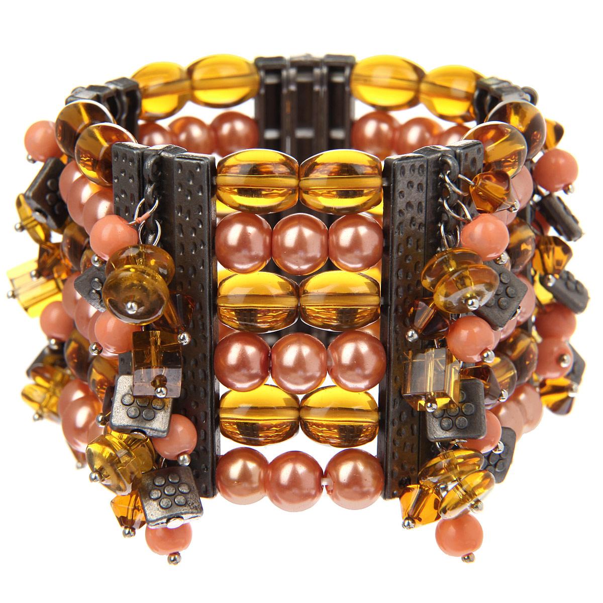 Браслет Taya, цвет: коралловый. T-B-8245-BRAC-CORALT-B-8245-BRAC-CORALСтильный женский браслет Taya выполнен в виде шести рядов оригинальных бусин, которые нанизаны на основу из эластичной резинки. Браслет оформлен всевозможными подвесками различных форм. Благодаря эластичной основе изделие идеально разместиться на запястье. Такой браслет позволит вам с легкостью воплотить самую смелую фантазию и создать собственный неповторимый образ.