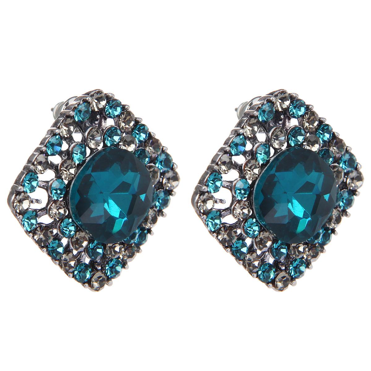 Серьги Taya, цвет: темно-синий, серый. T-B-9087T-B-9087-EARR-D.BLUEОригинальные серьги модного дизайна создают яркий и запоминающийся образ.