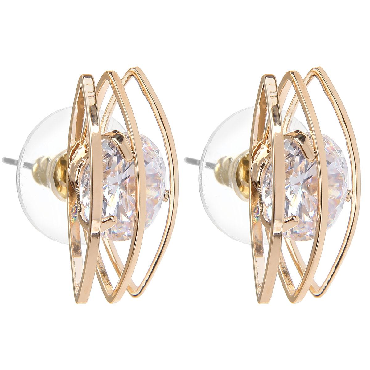 Серьги Taya, цвет: золотистый. T-B-9163-EARR-GOLDT-B-9163-EARR-GOLDШикарные серьги Taya выполнены из ювелирного сплава на основе латуни (не содержит свинца и никеля) и оформлены крупными гранеными стразами. Изделие застегивается на замок-гвоздик. Это стильное украшение элегантно впишется в ваш модный образ, а также подчеркнет ваш изысканный вкус.