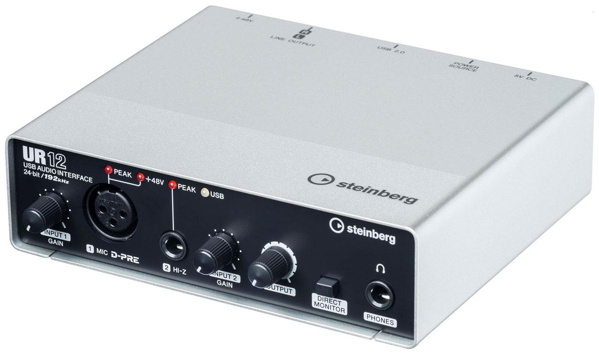 Steinberg UR12, Black Silver аудио интерфейсUR12Продвинутый аудио-интерфейс Steinberg UR12 в компактном и прочном металлическом корпусе с максимальным режимом работы 24 бит/192 кГц. Данная модель имеет дискретный микрофонный предусилитель Yamaha D-PRE с поддержкой фантомного питания +48 В. Устройство также оснащено различными интерфейсами и разъемами, а именно - микрофонным XLR-входом, Hi-Z инструментальным TRS-входом, а также линейным стереофоническим выходом 2 x RCA и разъёмом джек для подключения наушников. Steinberg UR12 позволяет производить аппаратный мониторинг сигнала с нулевой задержкой. В наличие поддержка операционных систем Windows, Mac OS и iOS. Имеется возможность работы с iPad через переходник Camera Connection Kit или Lightning to USB Camera Adapter. Поддержка режимов до 24-бит/192 кГц Прочный цельнометаллический корпус Микрофонный вход MIC D-PRE (балансный, XLR): Максимальный уровень входа +0 dBu Входной импеданс 4 кОм Диапазон усиления +10 дБ ... +54 дБ ...