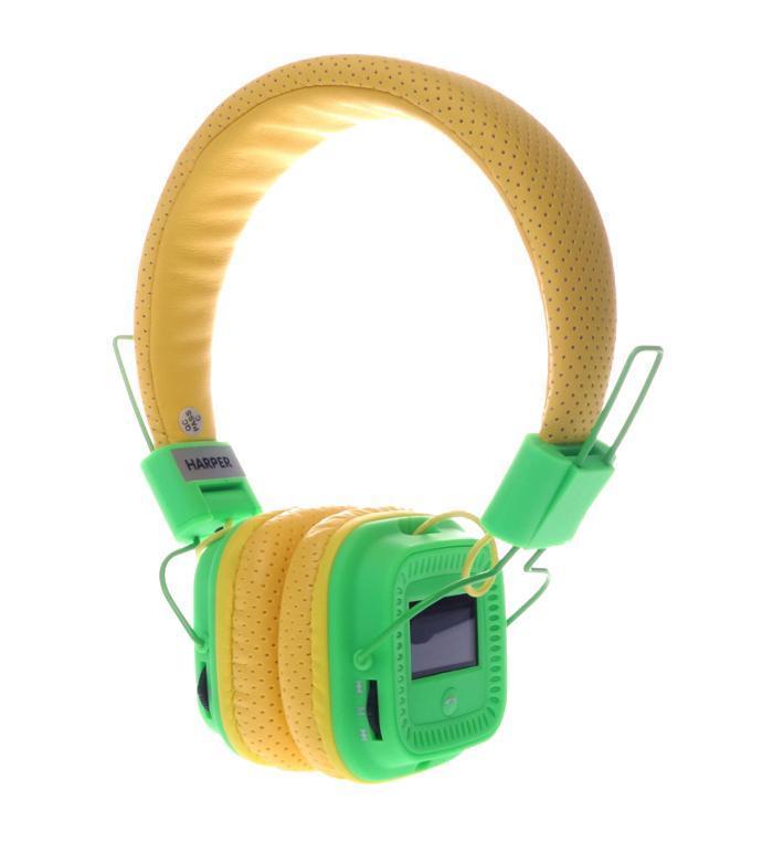 Harper HB-411, Yellow Green беспроводные наушникиHB-411 yellow-greenНаушники Harper HB-411 - это качественный звук, воплощенный в эргономичной стильной форме. Встроенный MP3-плеер. Наслаждайтесь музыкой без привязки к смартфону или планшету. Загрузите любимые треки на флеш-карту и вставьте ее в наушники. FM-радио и LCD-дисплей. Слушайте любимую радиостанцию в хорошем качестве. На дисплее Harper HB-411 отображается частота радиостанции, и другая информация. Портативная конструкция. Наушники компактно складываются, комплектуются специальным чехлом - их удобно хранить и перевозить. Эффективное снижение окружающего шума. Мягкие вставки обеспечивают плотное и одновременно комфортное прилегание к голове. Простое управление. Вы легко переключите функцию, найдете нужный канал, отрегулируете громкость, ответите на телефонный вызов.