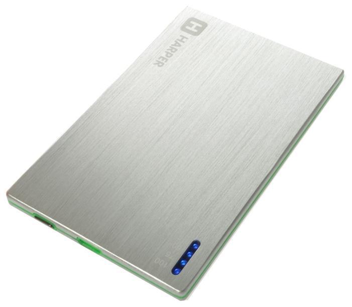 Harper PB-2000, Silver внешний аккумуляторPB-2000 silverУникальность модели заключается в сочетании компактных размерах и довольно большой емкости батареи аккумулятора. Толщина аккумулятора составляет всего 4,5 миллиметра. Легко умещается в заднем кармане брюк или даже в бумажнике. При этом объем заряда 2000 мАч. Этого достаточно для того чтобы полностью зарядить батарею большинства популярных среди пользователей смартфонов. А любители активного пользования мобильных устройств подтвердят, как важно иметь возможность вовремя подзарядить телефон.
