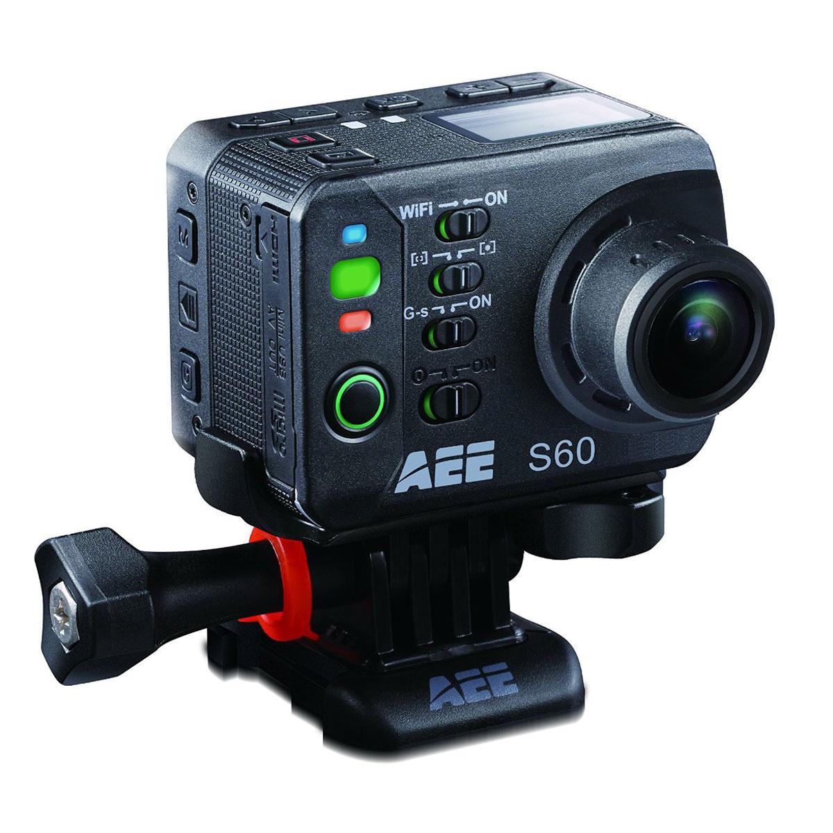 AEE S60 Magicam экшн-камераS60AEE экшн-камера S60 - это революционное решение среди камер для экстремальной съемки. Принципиально новый и современный дизайн, повышенный уровень эргономики, качество съемки Full HD и система оптической стабилизации позволяют записать видеоролик, который передаст атмосферу даже самого опасного приключения! Девайс обладает WiFi-модулем для управления с других мобильных устройств, стереомикрофоном и аккумулятором на 1500 мАч. Рабочая дистанция WiFi: до 120м Режим фотосъёмки: 16 Mпикс Формат изображений: JPEG Температура эксплуатации : -10-50 °С Влажность во время эксплуатации: 15-85% относительной влажности